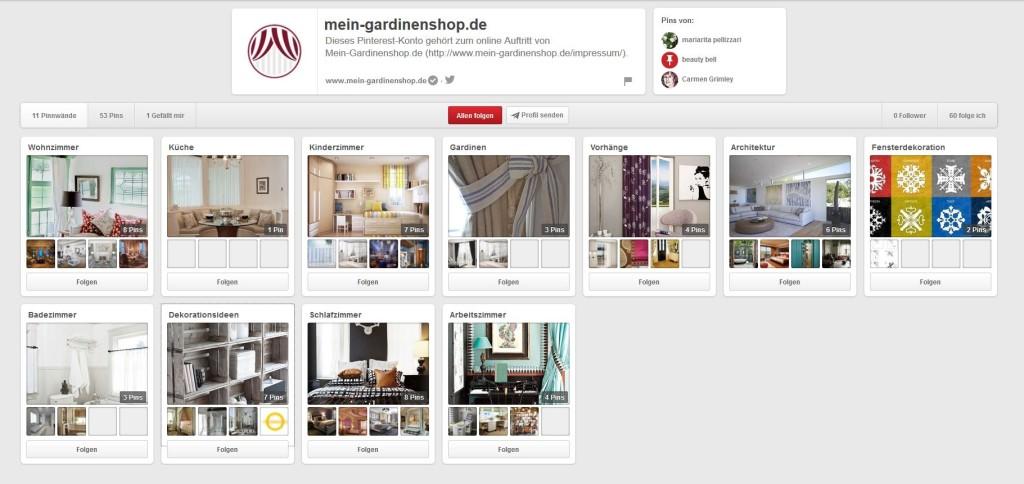 Der neue Pinterest Kanal von mein-gardinenshop.de